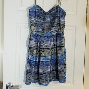 BCBGeneration blue and tan strapless dress L